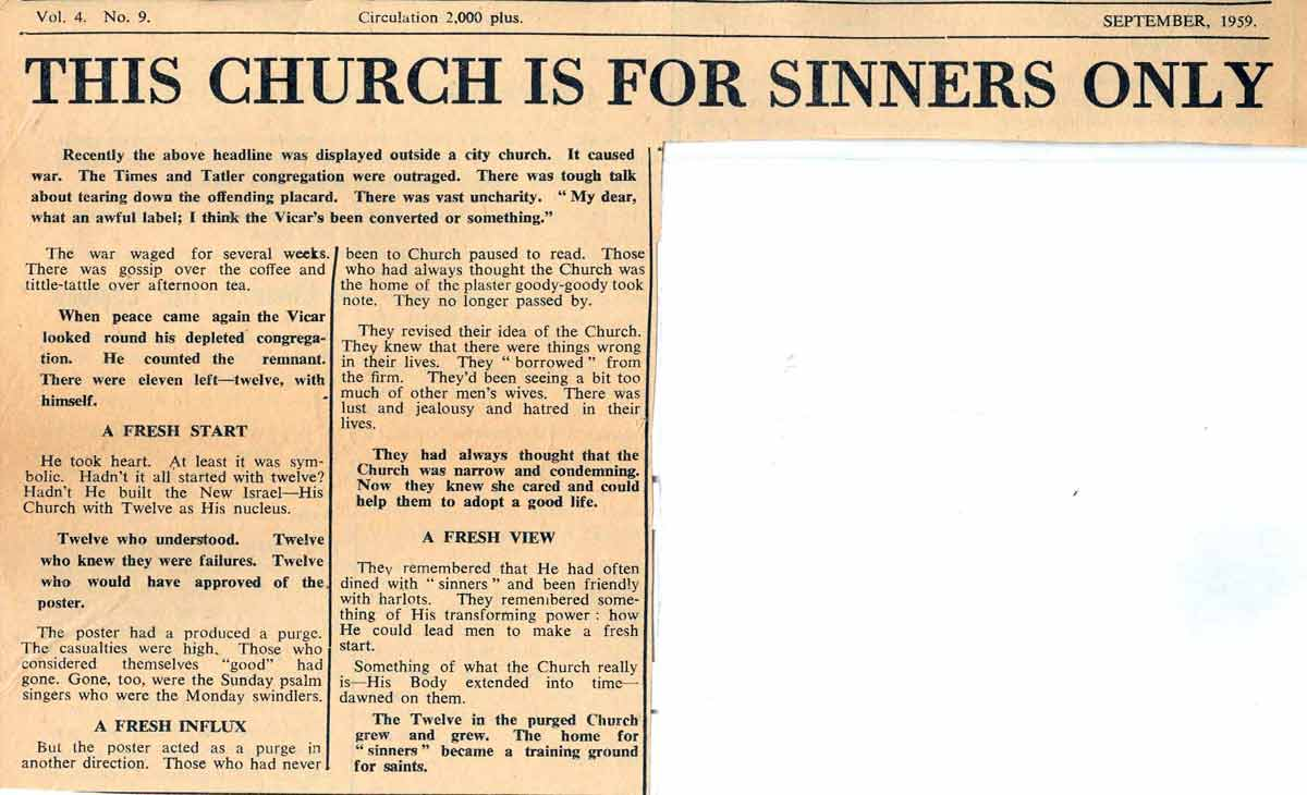 The church is a congregation of sinners