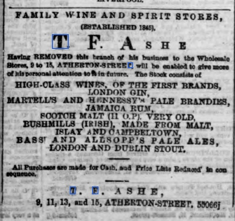 1867-TF Ashe advert,Liverpool Daily Post, 9 Mar 1867