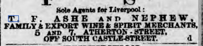 1889-TF Ashe ad, Liverpool Echo, 4 April 1889