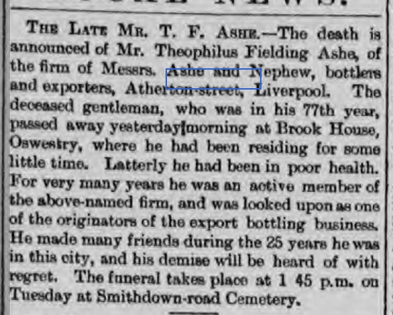 1894-death of TF Ashe, Liverpool Mercury, 15 Sep 1894
