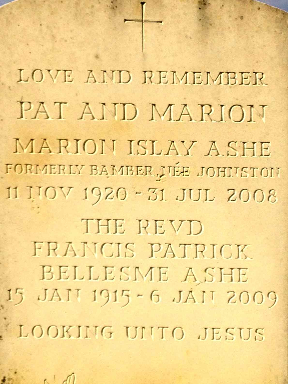 Pat and Marion Gravestone