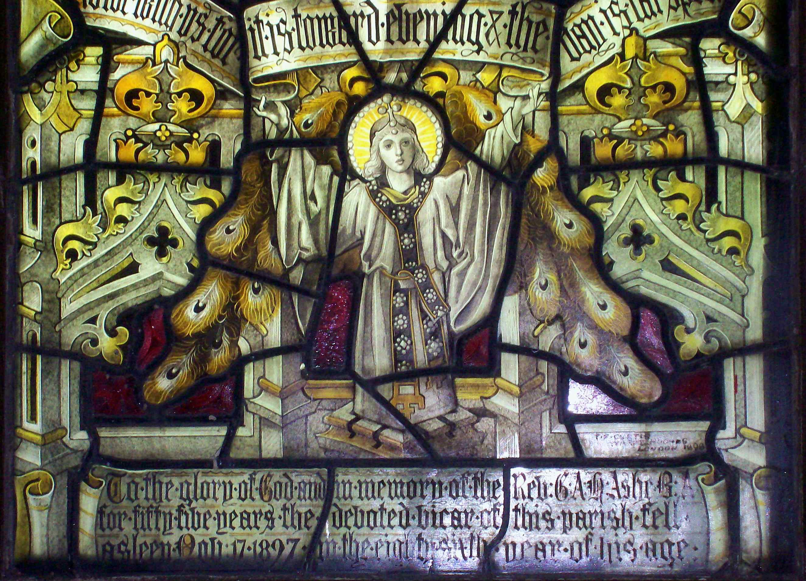 GAH Ashe - Writing on stained glass window