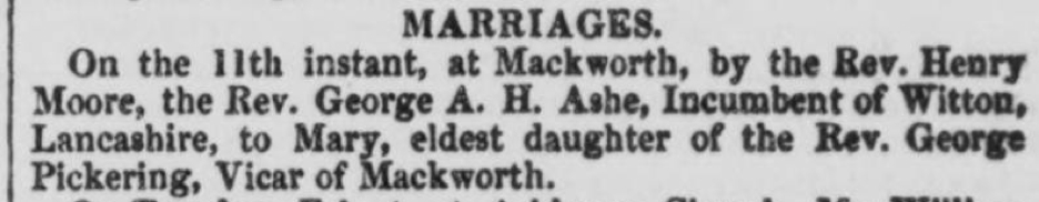 Marriage-Rev. G.A.H. Ashe to Pickering-Derby Mercury, 12 Feb 1851